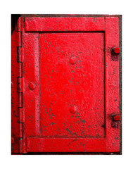 Red Metal Doorframe and hinge