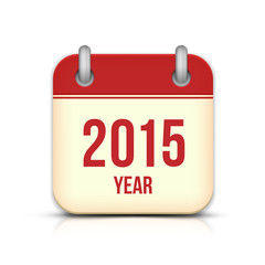 2015 Year Vector Calendar App Icon With Reflection.