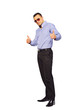 Full length portrasit of stylish young man thumbs up white backg