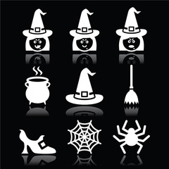 Witch Halloween vector icons set on black