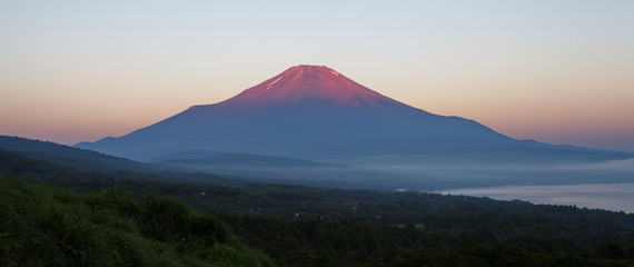 Mt Fuji in red color at top before sunrise in summer season
