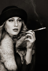 Retro Woman Portrait. Smoking Lady