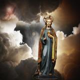 Jesus, sun,clouds and sky background