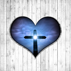 cross, heart,sky,sun and  wood background