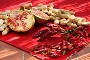 chilli and pomegranate and peanuts