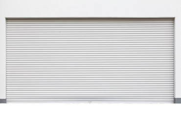 background of white grunge metallic roller shutter door