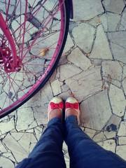 Scarpe con bici rosa