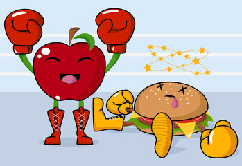 Apple vs burger, vector illustration