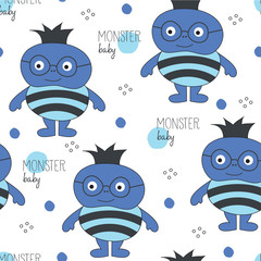 monster baby pattern vector illustration