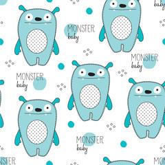monster baby pattern vector illustration