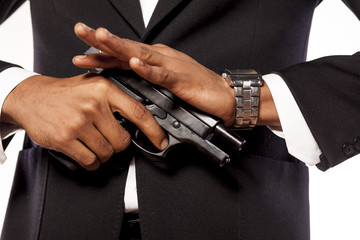 African businessman recharge his gun