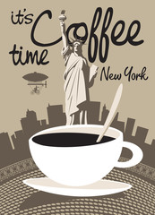 cup of coffee on a background of the Statue of Liberty