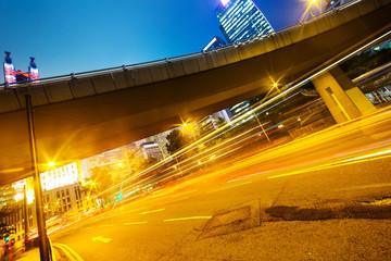 modern city urban traffic light trails