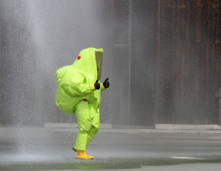yellow suit protective radiation defense and infectious diseases