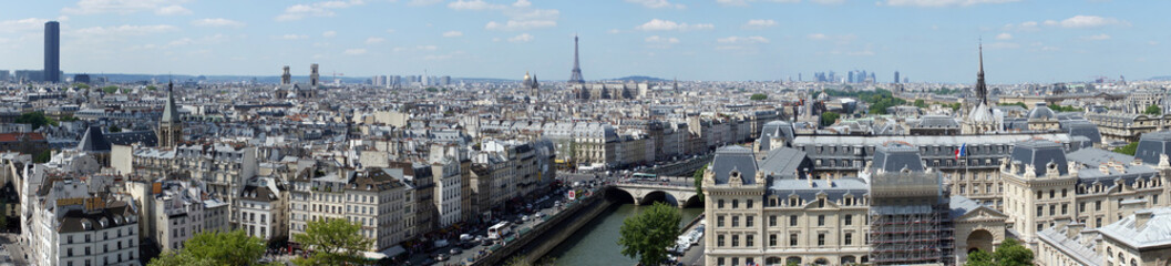 Panoramic view of Paris with the Eiffel Tower