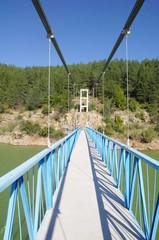 Rope pedestrian bridge on Kardzhali dam, Bulgaria