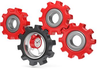Uhr bewegt das Getriebe