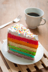 layer of rainbow color cake