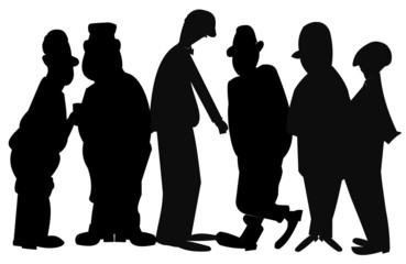 men in silhouette group