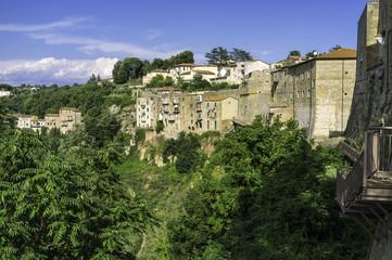 Pitigliano, Tuscany, old city panorama. Color image