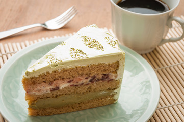 Japanese confectionery, green tea and red bean swiss roll