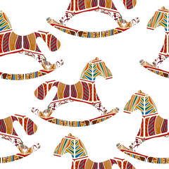Seamless pattern with rocking horses. Vector illustration