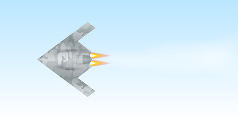 Military drone flying over sky background. Vector illustration
