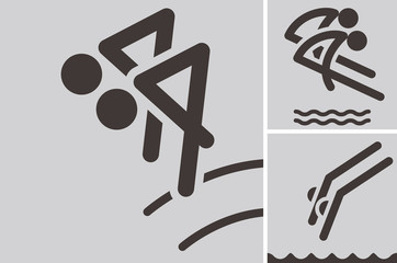 Synchronized diving icons