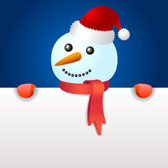 Smiling snowman, holding blank page