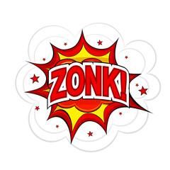 Cartoon ZONK! on a white background. Vector illustration.