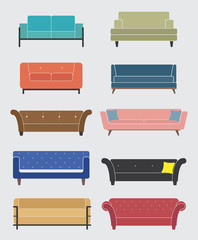 Set of sofa and couch, Furniture icons, Interior element, Vector