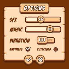 Option menu wooden style game buttons
