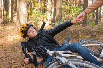 Chłopiec i rower