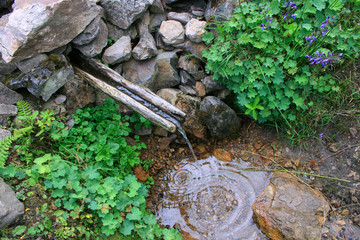 Spring Water ,Wooden Fountain in Highlands of Trabzon,Turkey