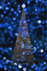 christmas tree with blue background