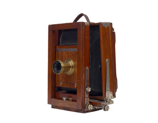 Antique view camera with leather bellows isolated