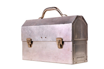 Old lunchbox isolated on white