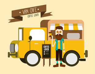 Love coffee. Hipster man with Van cafe delivery. flat design
