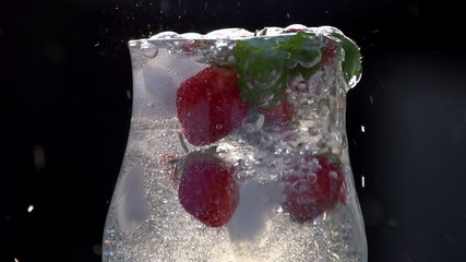 Mineral Water is Poured Into a Glass