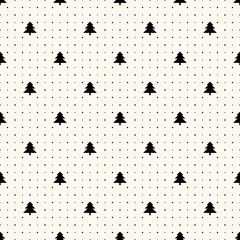 Vector seamless retro pattern, christmas trees