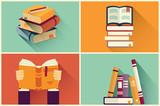 Fototapety Set of books in flat design, vector illustration