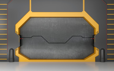Futuristic metallic door or gate on yellow wall
