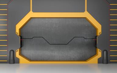 Futuristic metallic door or gate on yellow wall