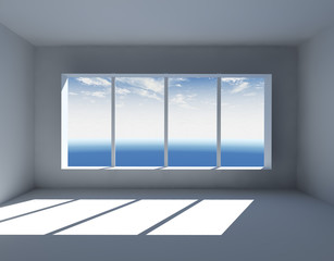White empty interior with big window 3D render.