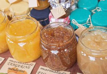 Homemade fruit  jam at the market