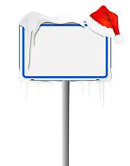 Schild blau mit Mütze