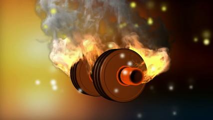 burning dumbbell. alpha matted