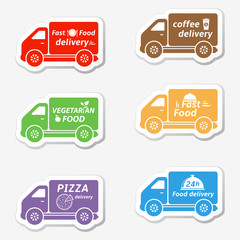 Fast food delivery cars, shipping vector stickers