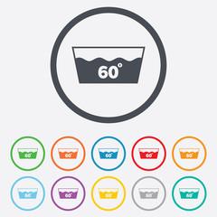 Wash icon. Machine washable at 60 degrees symbol