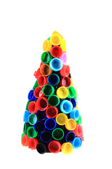 chriostmas tree from color plastic caps